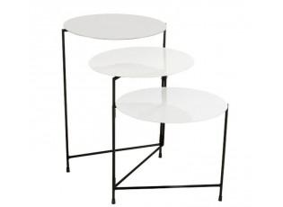 Kovový odkládací stolek se 3mi deskami Lacquer white - 125*40*61 cm