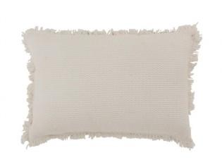 Krémový bavlněný polštář s třásněmi Fringe - 58*38cm