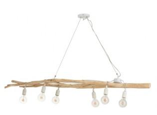 Dřevěný lustr se 6ti žárovkami Branchy - 145*35*15 cm
