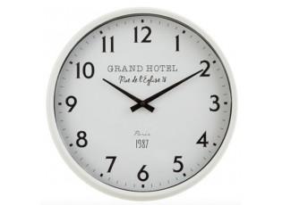 Bílé nástěnné hodiny Grand Hotel Paris - Ø 40*10 cm