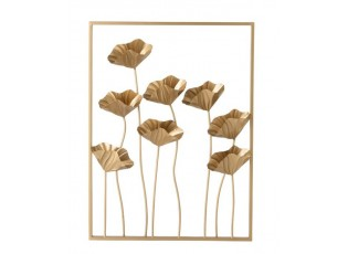 Zlatá nástěnná dekorace / obraz květy Flowers - 51*10*68cm