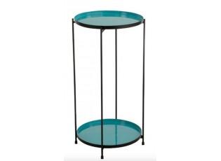 Tyrkysový kovový odkládací stolek Cerise - 32*10*60 cm