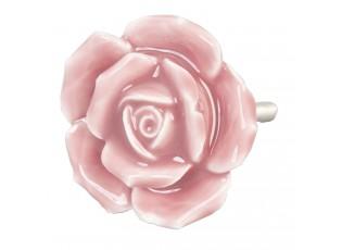 Keramická úchytka Růže růžová - pr 4,5 cm