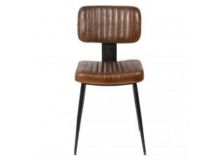 Hnědá židle Alienor s černou kovovu konstrukcí - 43*46*84 cm