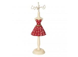 Stojánek na šperky červené puntíkaté šaty - Ø 6*23 cm