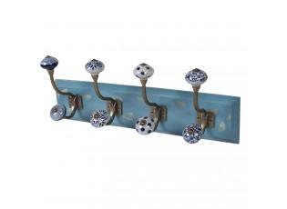 Modrý dřevěný věšák s barevnými knopkami - 45*10*18 cm