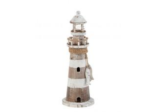 Dřevěná dekorace maják s LED světlem  - Ø10*30,5 cm