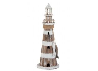 Dřevěná dekorace maják s LED světlem  - Ø18*51 cm