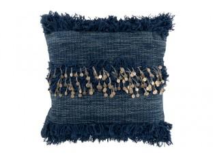 Tmavě modrý polštář s flitry a třásněmi - Ø 45*1 cm