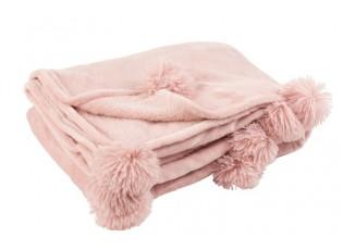 Růžový plyšový pléd Pompom s bambulemi baby pink -  130*170cm