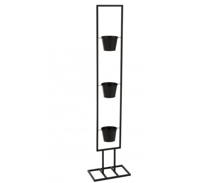 Černý kovový stojan na 3 květináčky - 30*20*130 cm
