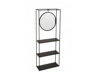 Zrcadlo v černém policovém regálu Igerne - 40*15*105,5 cm