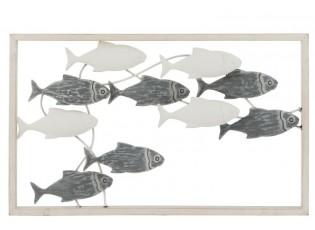 Nástěnná kovová dekorace hejno ryb - 50*30*3 cm