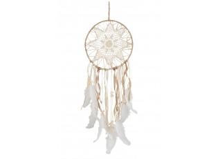 Přírodní lapač snů s peříčky Feathers - Ø 26*77cm