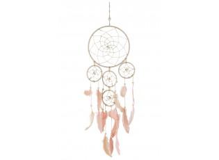 Přírodní lapač snů s růžovými peříčky Feathers - 37*96cm