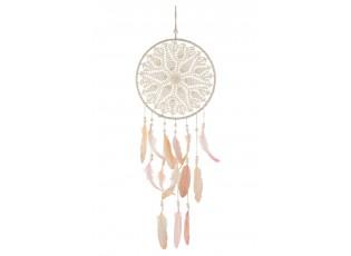 Přírodní lapač snů s růžovými peříčky Feathers - Ø 30*76cm