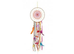 Barevný lapač snů s korálky a peříčky Feathers - Ø 25*92cm