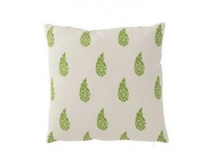 Bílý polštář s potiskem zelených listů Feuille - Ø 45*10 cm