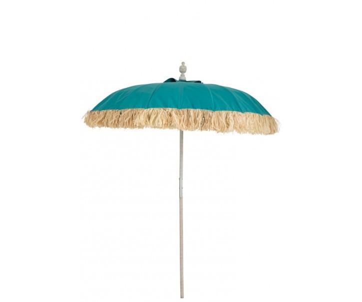 Azurově modrý dřevěný slunečník s třásněmi Raffia - Ø 190*250 cm