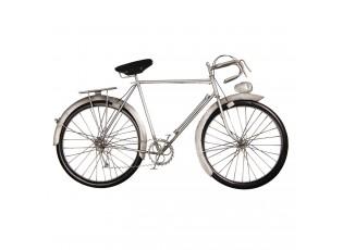 Nástěnná kovová dekorace Stříbrný retro bicykl - 62*5*34 cm