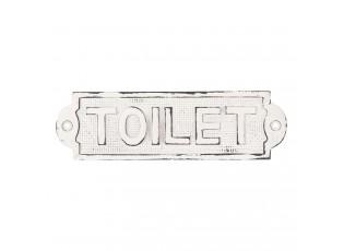 Bílá kovová ceulka s patinou Toilet - 18*5 cm
