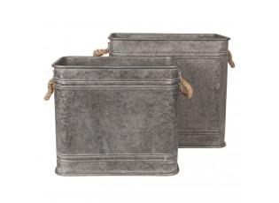 2ks dekorační plechové boxy / květináče - 44*26*39 / 38*22*33 cm