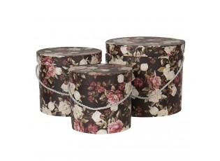 Sada 3ks černých papírových krabic s květy -  Ø 16*15 cm /Ø 19*17 cm /Ø 23*19  cm