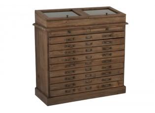 Hnědá dřevěná komoda se šuplíky a vitrínou Browy  - 110*45*100 cm