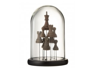 Dekorační podnos se skleněným poklopem Šachy - Ø17 *25 cm