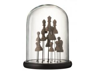 Dekorační podnos se skleněným poklopem Šachy - Ø 23*30 cm