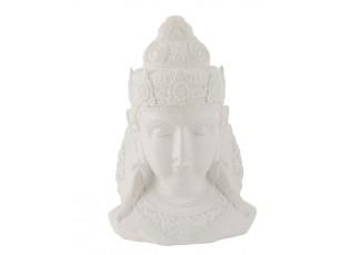 Bílá dekorace hlava Buddha - 29*21*43 cm