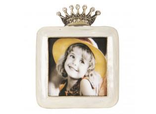 Malý krémový fotorámeček zdobený korunkou Royale - 6*2*8 / 5*8 cm