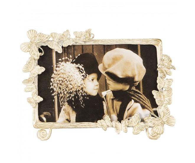 Krémový fotorámeček s motýlky a zlatou patinou - 18*2*13 / 15*10 cm