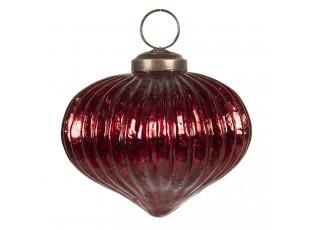 Červená skleněná vánoční ozdoba - Ø  8 cm