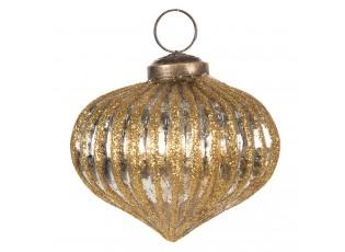 Stříbrná vánoční ozdoba se zlatou patinou - Ø  8 cm