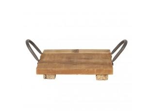 Malý dřevěný retro podnos s kovovými uchy - 20*20*9 cm
