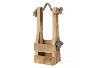 Dřevěná retro bedýnka na láhev s otvírákem - 9*10*29 cm
