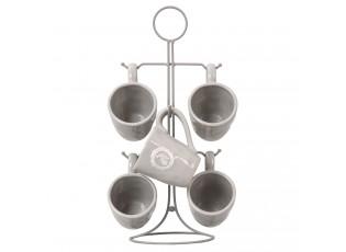Hrnečky šedé v kovovém stojanu - 22 * 22 * 40 cm