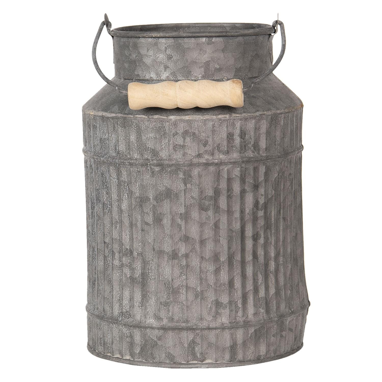 Clayre & Eef Dekorační plechová bandaska na mléko Tole – Ø 16*23 cm