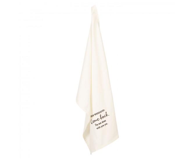 Béžová bavlněná kuchyňská utěrka Dear Weekend - 46*70 cm