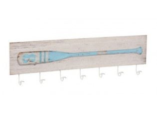 Nástěnný dřevěný věšák s dekorací pádla Pagayer - 101,5*6*29 cm