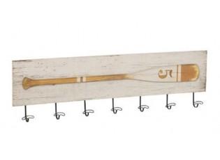 Dřevěný nástěnný věšák s patinou a motivem pádla Pagayer - 101,5*5*29,5 cm