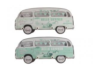 Sada 2 nástěnných dřevěných věšáků v tyrkysové barvě Minibus - 33*75*5 cm