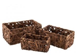 Set 3 obdélníkových kaštanově hnědých košíků z rákosu Orabelle  - 28*18*13,5 cm