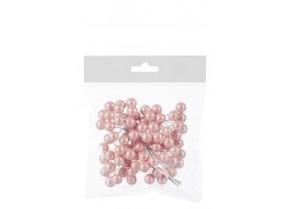 6ks dekorační větvička s růžovými kuličkami - 10*9*3 cm