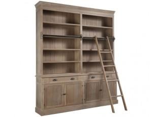 Hnědá dřevěná knihovna s policemi a schůdky Jemmy - 200*41*232cm