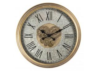Plechové nástěnné hodiny se zlatým rámem a římskými číslicemi – Ø 63*8 cm / 1*AA