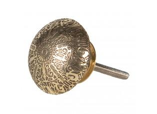 Hnědo-zlatá kovová úchytka s ornamenty -  Ø 4*4 cm