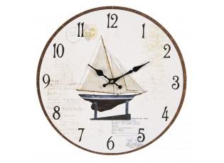 Nástěnné hodiny s loďkou a potiskem – Ø 34*3 cm / 1*AA