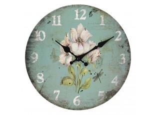 Zelené vintage hodiny s květinami – Ø 30*3 cm / 1*AA